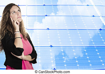 business woman on the solar panel background