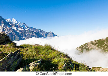 A beautiful view of the Mont Blanc in Chamonix in France