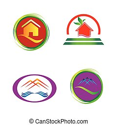Set of house icons, symbols and logos