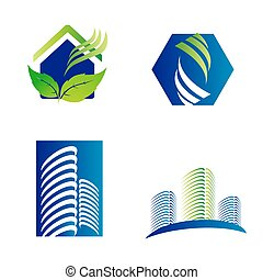 Building construction architecture company logo set