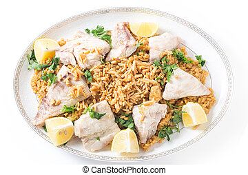 Lebanese fish rice and nuts from above