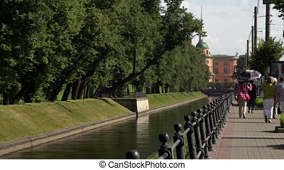 The Swan canal in St Petersburg Shot in 4K ultra-high...