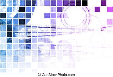 Blue Mosaic - Blue Creative Artistic Fractal as Mosaic...