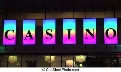 Casino neon sign. Shot in 4K (ultra-high definition (UHD)),...