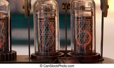 Vacuum tube, numbers Shot in 4K ultra-high definition UHD,...
