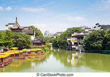 nanjing scenery of confucius temple - nanjing scenery of the...