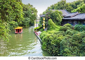 cruise boat in nanjing qinhuai river - beautiful nanjing of...