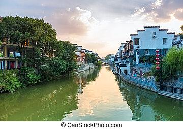 nanjing qinhuai river in sunset - beautiful nanjing scenery...
