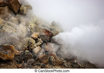Smoking fumarole in Iceland - Fumarole evacuating...