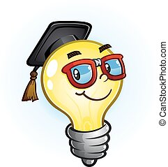 Light Bulb Education Cartoon - A nerdy light bulb cartoon...