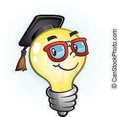 Light Bulb Education Cartoon - A nerdy light bulb cartoon...