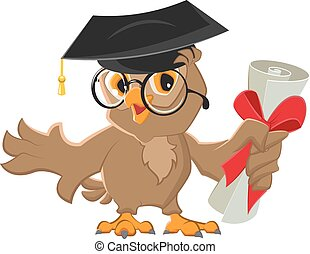 One owl diploma. Illustration in vector format
