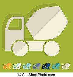 Flat design: Cement Mixer