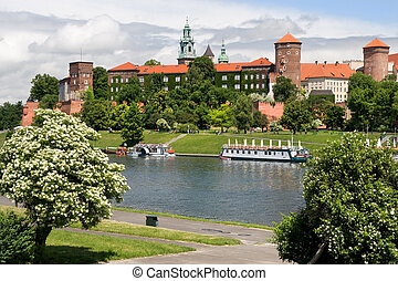 The Wawel Royal Castle in Cracow, Poland built in 14th at...