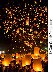 Flying Lantern - Flying Sky Lantern on Yeepeng festival,...