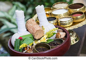 Thai traditional Herbal balls and herbs