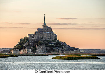 Mont Saint Michele France - Mont Saint Michele at dusk...