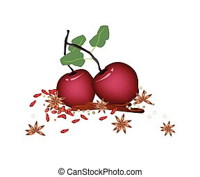 Christmas Apples and Spices on White Background