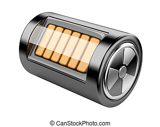 Nuclear energy battery. 3d illustration isolated on a white...