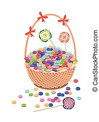 A Brown Basket of Chocolates and Lollipops - Illustration of...