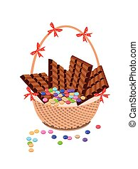 Brown Basket of Milk Chocolate and Chocolates Bar - Sweet...