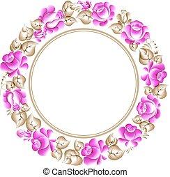 Gzhel style circle frame. - Gzhel style circle floral frame....