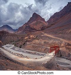 himalayas - red bridge in himalayas mountain