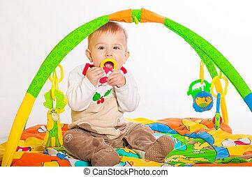 嬰孩, 男孩, 玩, 玩具
