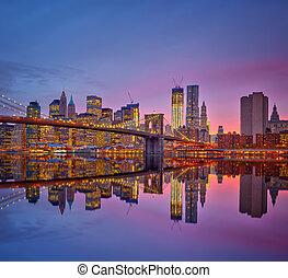 Manhattan, a, crepuscolo,