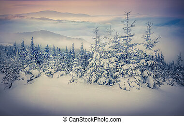 Fairy-tales snowfall in winter mountains Retro style