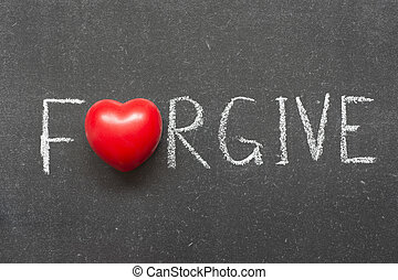 forgive word handwritten on chalkboard with heart symbol...