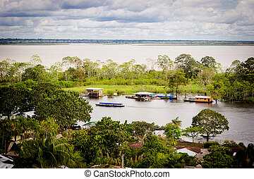 High view of Amazon River and local houses