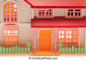 Playhouse - Dollhouse close up on a light background