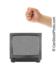 Old TV and fist isolated on white background