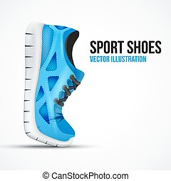Running curved green shoes. Bright Sport sneakers symbol.
