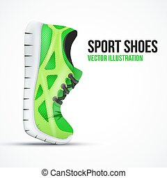 Running curved green shoes. Bright Sport sneakers symbol. -...
