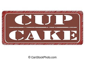 cup cake grunge stamp with on vector illustration
