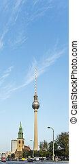 The Fernsehturm (TV Tower) in Berlin, Germany - BERLIN,...