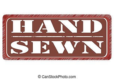 hand sewn grunge stamp with on vector illustration