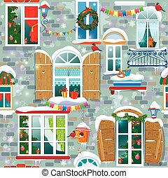Seamless pattern with decorative Windows in winter time. Christm