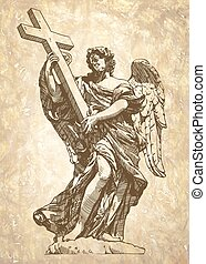 sketch digital drawing marble statue of angel - original...