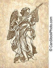 sketch digital drawing marble statue of angel - original...