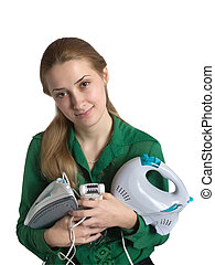 Girl with household appliances