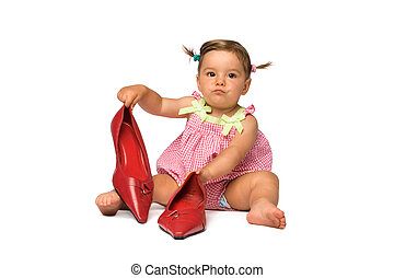 Baby Girl with Red Pumps