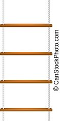 Wooden rope ladder with white rope on white background