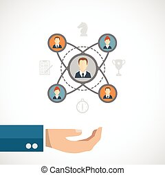 Connected people concept with businessman hand and social...