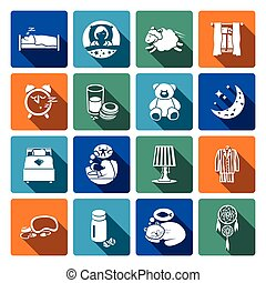 Sleep time icons flat set with bedroom night sweet dreams...