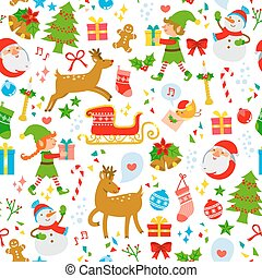 christmas icons pattern - seamless pattern with cute...