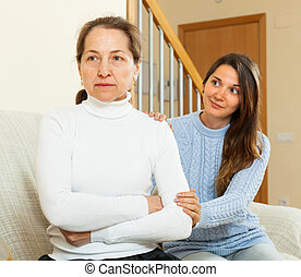 Teen girl tries reconcile with mother in home - Teen girl...