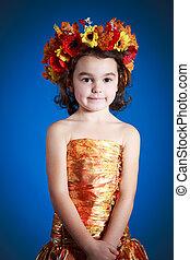 cute girl in autumn dress